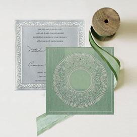 GREEN WOOLY SCREEN PRINTED WEDDING-CARD : CW-8214P