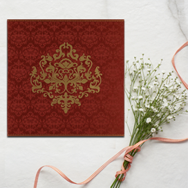 RED SHIMMERY DAMASK THEMED - SCREEN PRINTED WEDDING CARD : CI-8254B