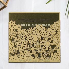 IVORY SHIMMERY FLORAL THEMED - LASER CUT WEDDING CARD : CIN-1595