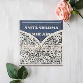 IVORY SHIMMERY FLORAL THEMED - LASER CUT WEDDING INVITATION : CIN-1593