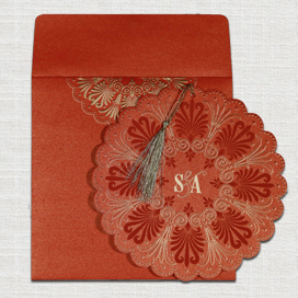 RED SHIMMERY FLORAL THEMED - EMBOSSED WEDDING CARD : CD-8238I