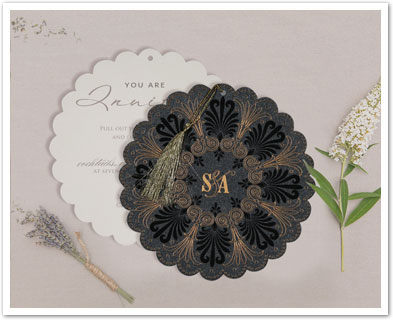 BLACK SHIMMERY FLORAL THEMED - EMBOSSED WEDDING CARD : CD-8238D-IndianWeddingCards