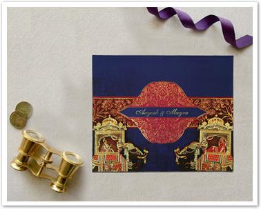 BLUE MATTE BOX THEMED - FOIL STAMPED WEDDING INVITATION : CD-1830-IndianWeddingCards