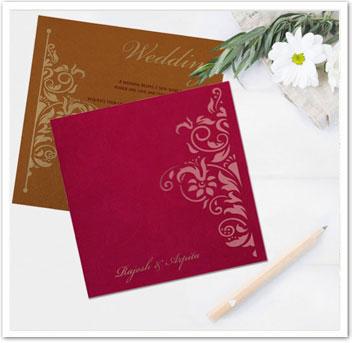 BLUE SHIMMERY SCREEN PRINTED WEDDING INVITATION : CIN-8263B-IndianWeddingCards