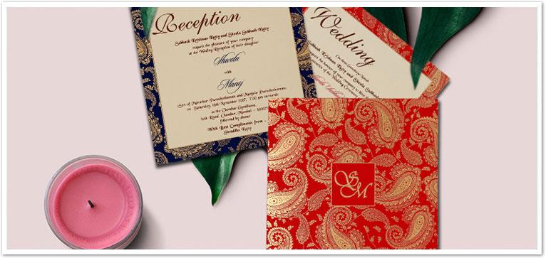 IVORY MATTE PAISLEY THEMED - SCREEN PRINTED WEDDING INVITATION : CW-1698-IndianWeddingCards