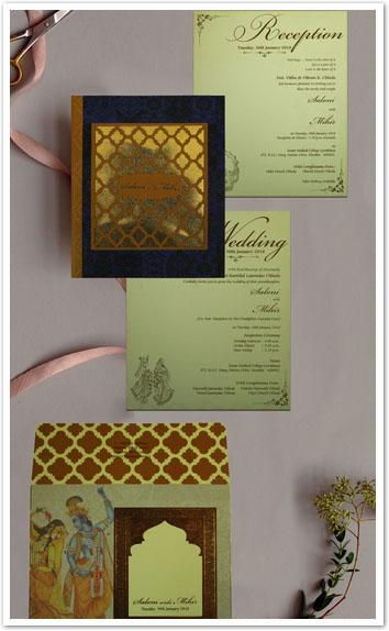 MATTE BOX THEMED - LASER CUT WEDDING INVITATION : CD-1832-IndianWeddingCards