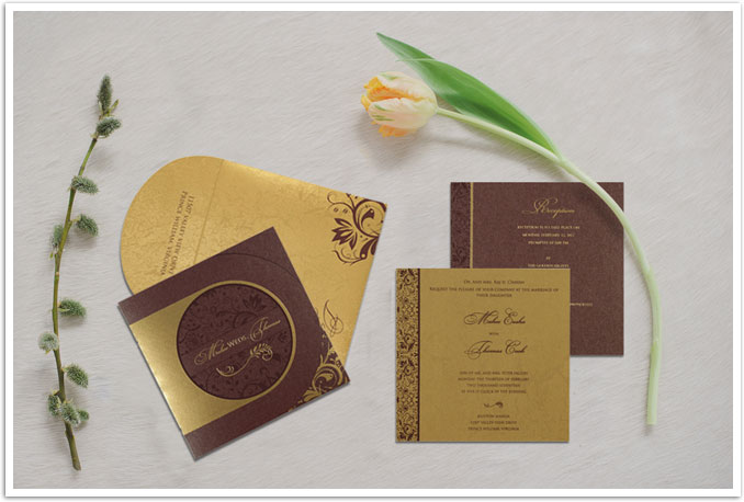 PURPLE SHIMMERY PAISLEY THEMED - SCREEN PRINTED WEDDING CARD : CD-8264E-IndianWeddingCards
