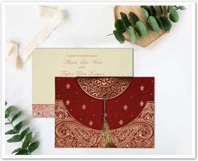 RED HANDMADE COTTON EMBOSSED WEDDING CARD : CD-8234L-IndianWeddingCards