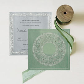 GREEN WOOLY SCREEN PRINTED WEDDING-CARD : CW-8214P