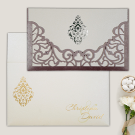 PURPLE SHIMMERY DAMASK THEMED - LASER CUT WEDDING CARD : CIN-8262B