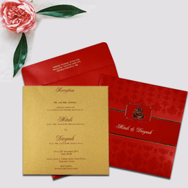 RED SHIMMERY FOIL STAMPED WEDDING CARD : CW-2292