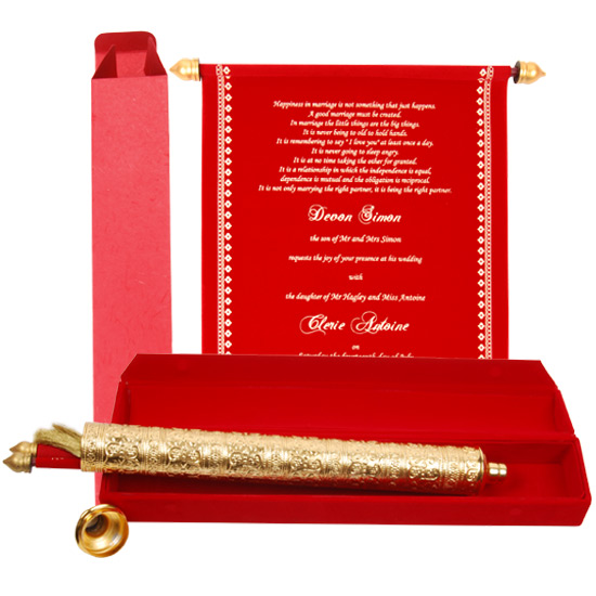 Fascinating scroll wedding invitations for perfect wedding for Wedding invitation boxes online india