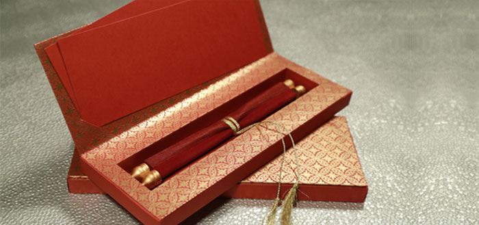 5 popular designs of hindu wedding cards for modern hindu for Wedding invitation boxes online india