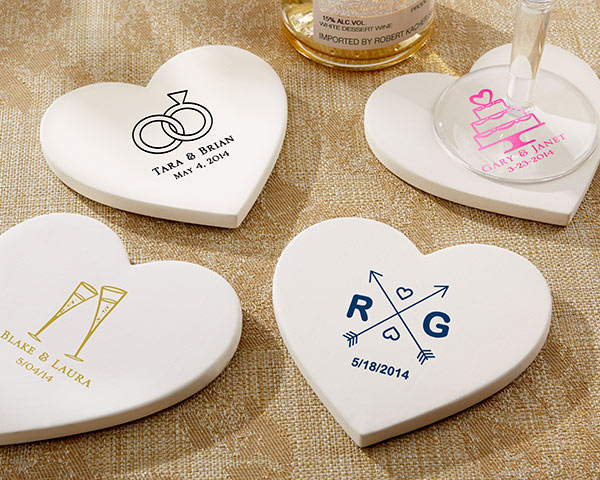 Personalized Heart Shaped Stone Coaster Wedding Gifts