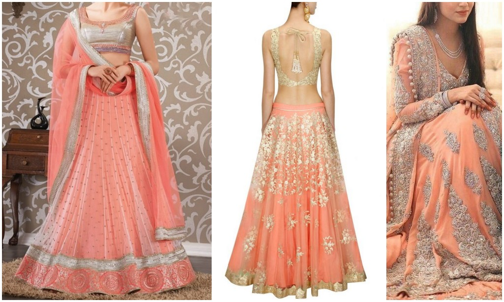 7 awesome bridal wear colors other than red or pink - Peach and red combination ...