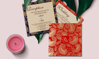 Paisley Themed Wedding Invitations - IndianWeddingCards