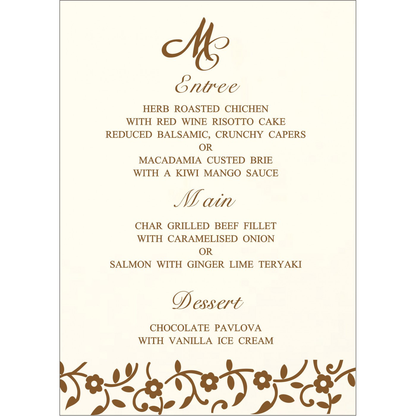Menu Cards : CMENU-1422