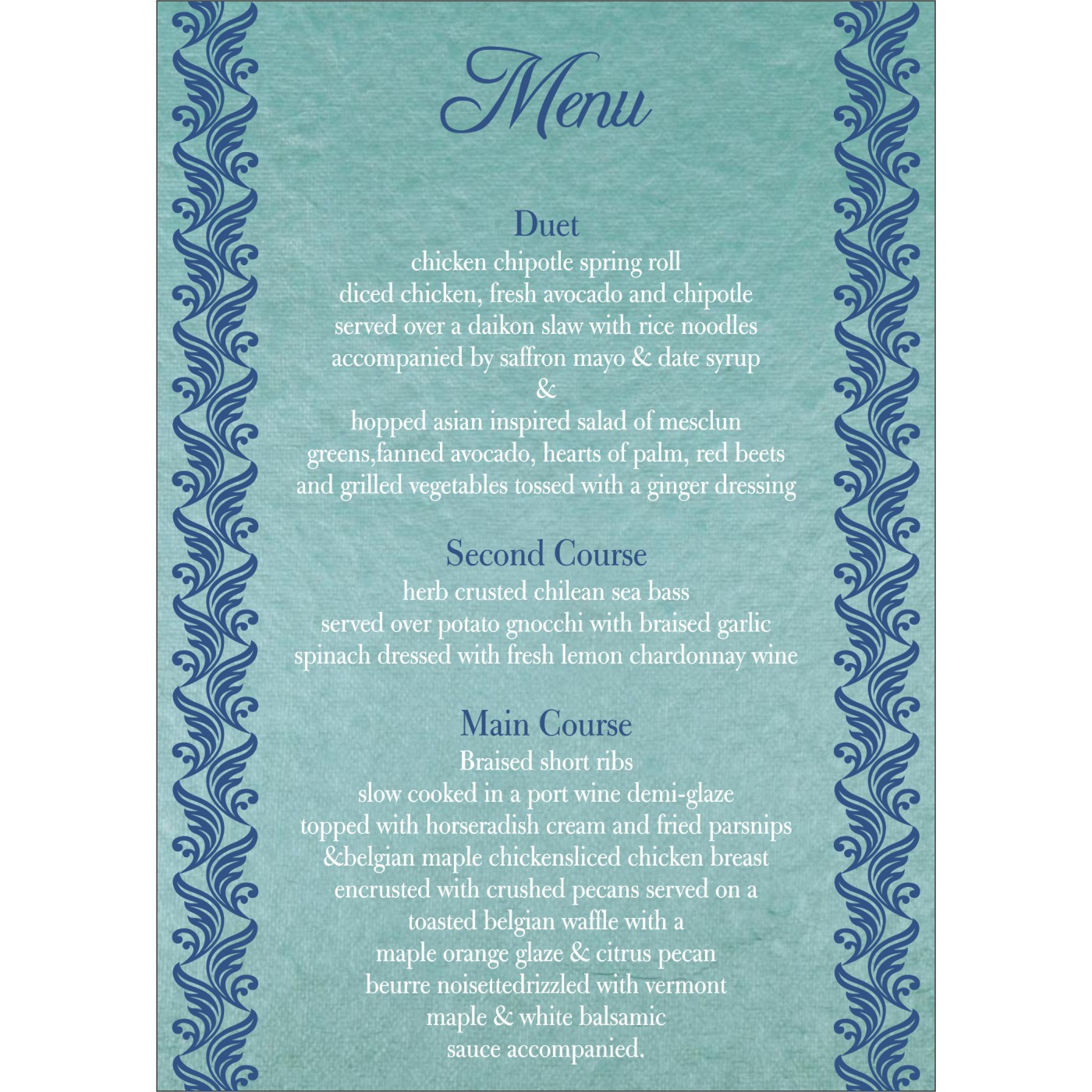 Menu Cards : CMENU-5007D - IndianWeddingCards