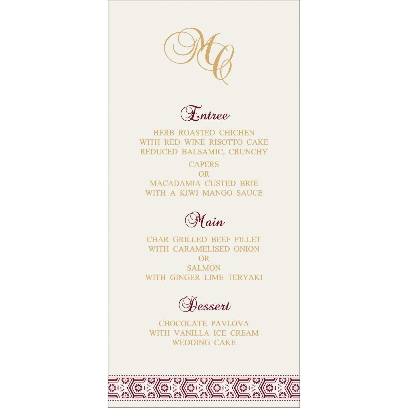 Menu Cards : CMENU-5014J - IndianWeddingCards