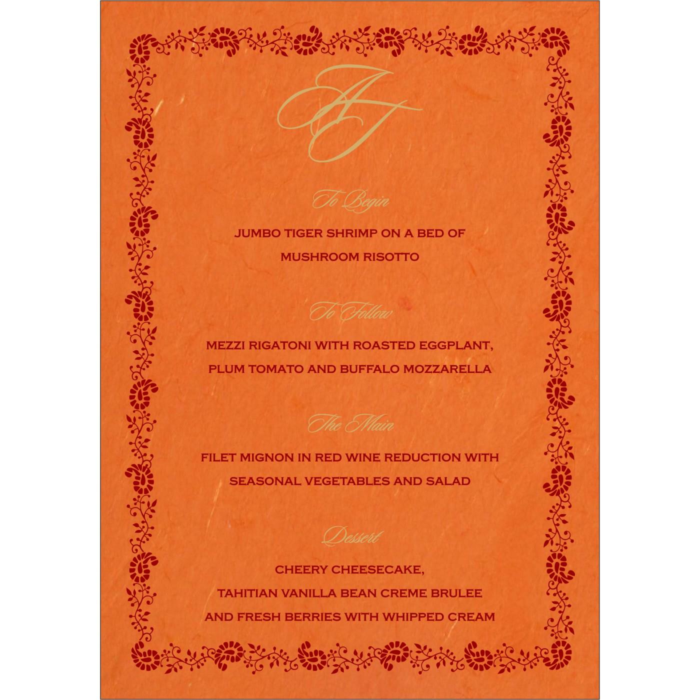 Menu Cards : CMENU-8208G - IndianWeddingCards