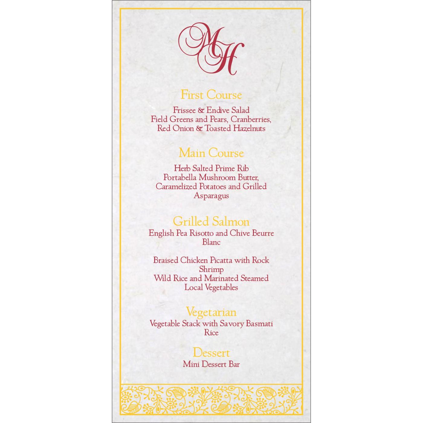 Menu Cards : CMENU-8215H - IndianWeddingCards