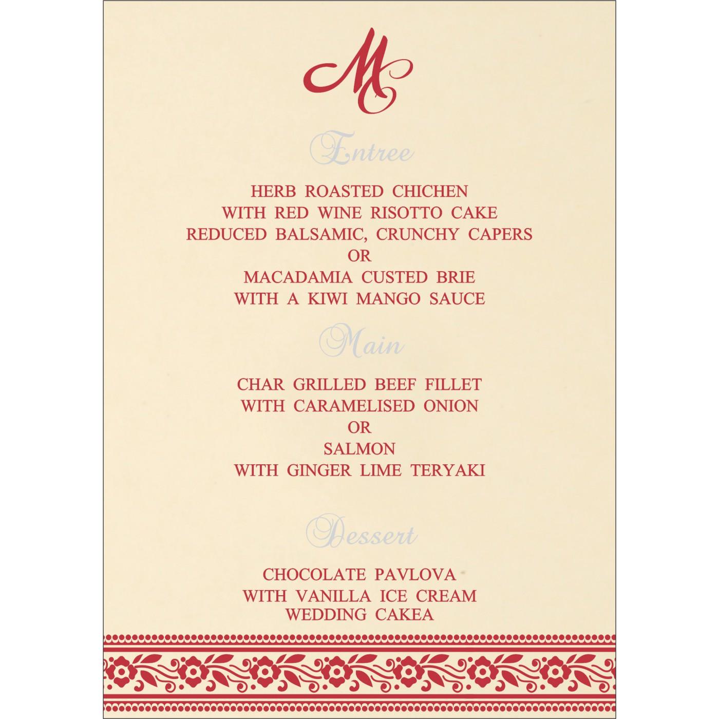 Menu Cards : CMENU-8220O - IndianWeddingCards
