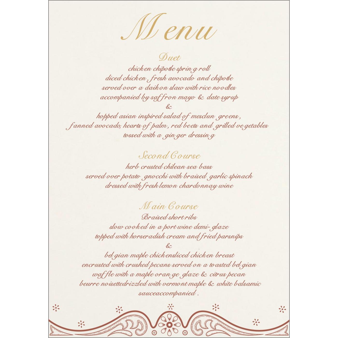 Menu Cards : CMENU-8221O - IndianWeddingCards