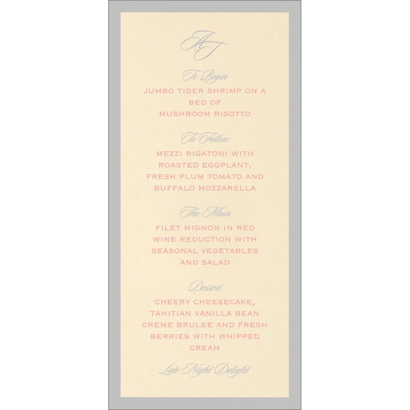 Menu Cards : CMENU-8229Q - IndianWeddingCards