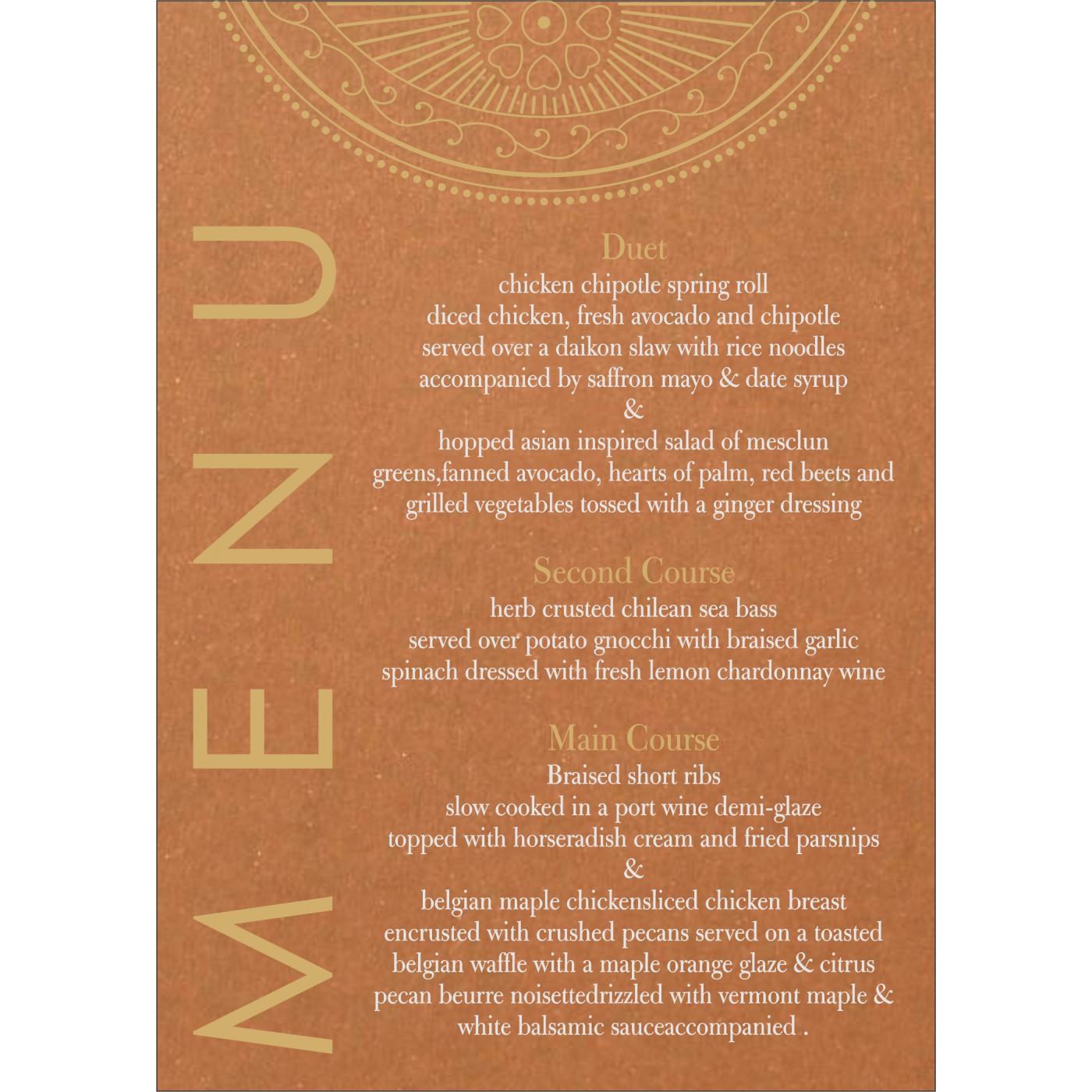 Menu Cards : CMENU-8230Q - IndianWeddingCards