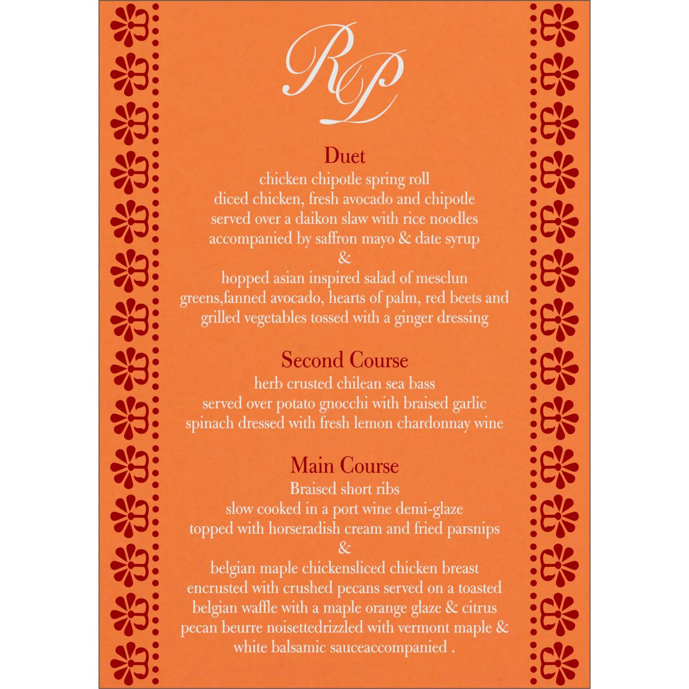 Menu Cards : CMENU-8231N - IndianWeddingCards