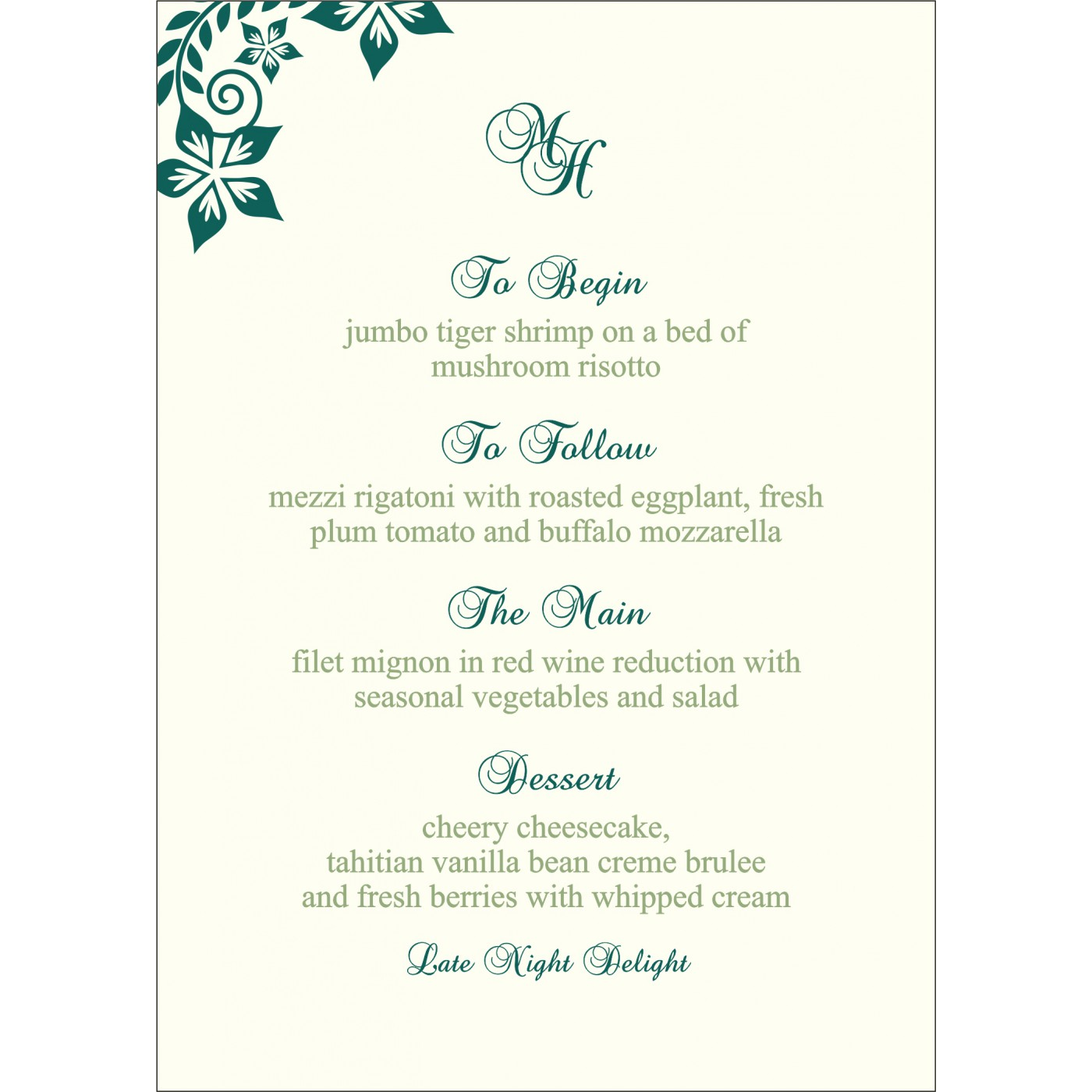 Menu Cards : CMENU-8240N