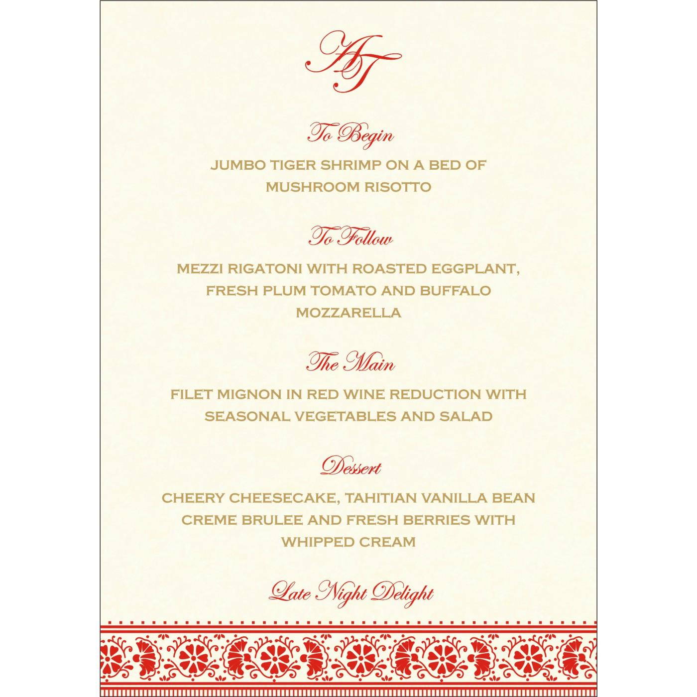 Menu Cards : CMENU-8242A - IndianWeddingCards