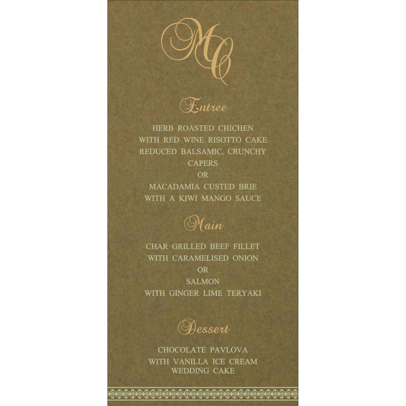 Menu Cards : CMENU-8247E - IndianWeddingCards