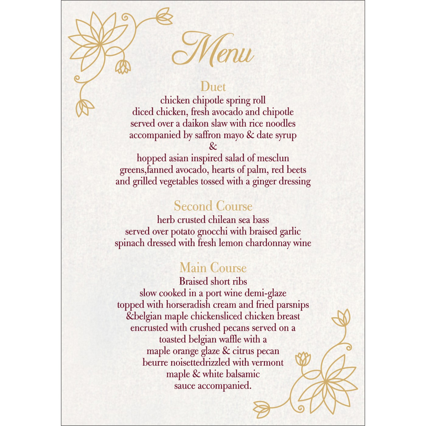 Menu Cards : CMENU-8251E - IndianWeddingCards