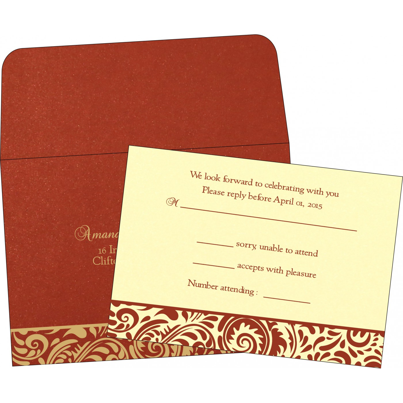 RSVP Cards : CRSVP-1471 - IndianWeddingCards