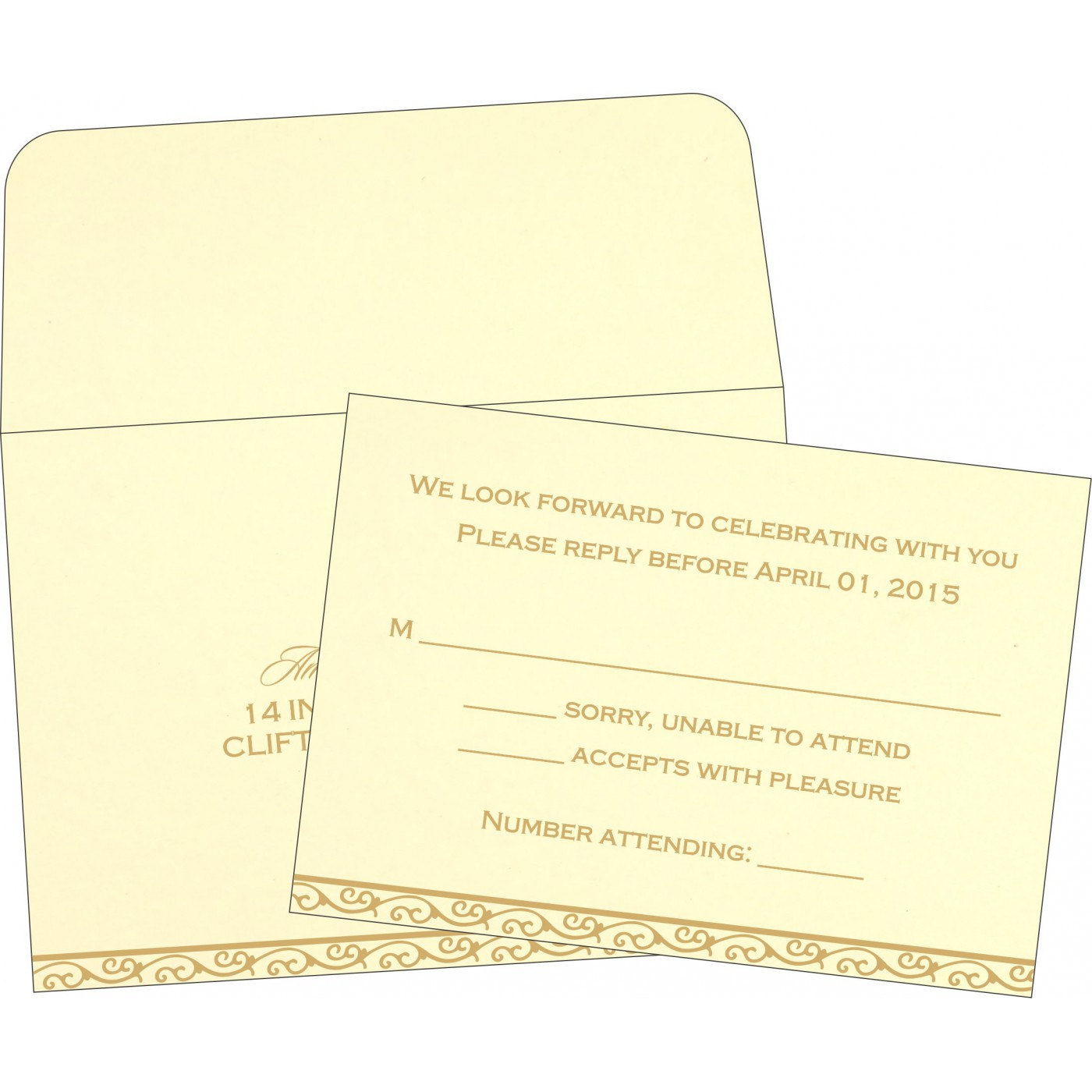 RSVP Cards : CRSVP-2005 - IndianWeddingCards