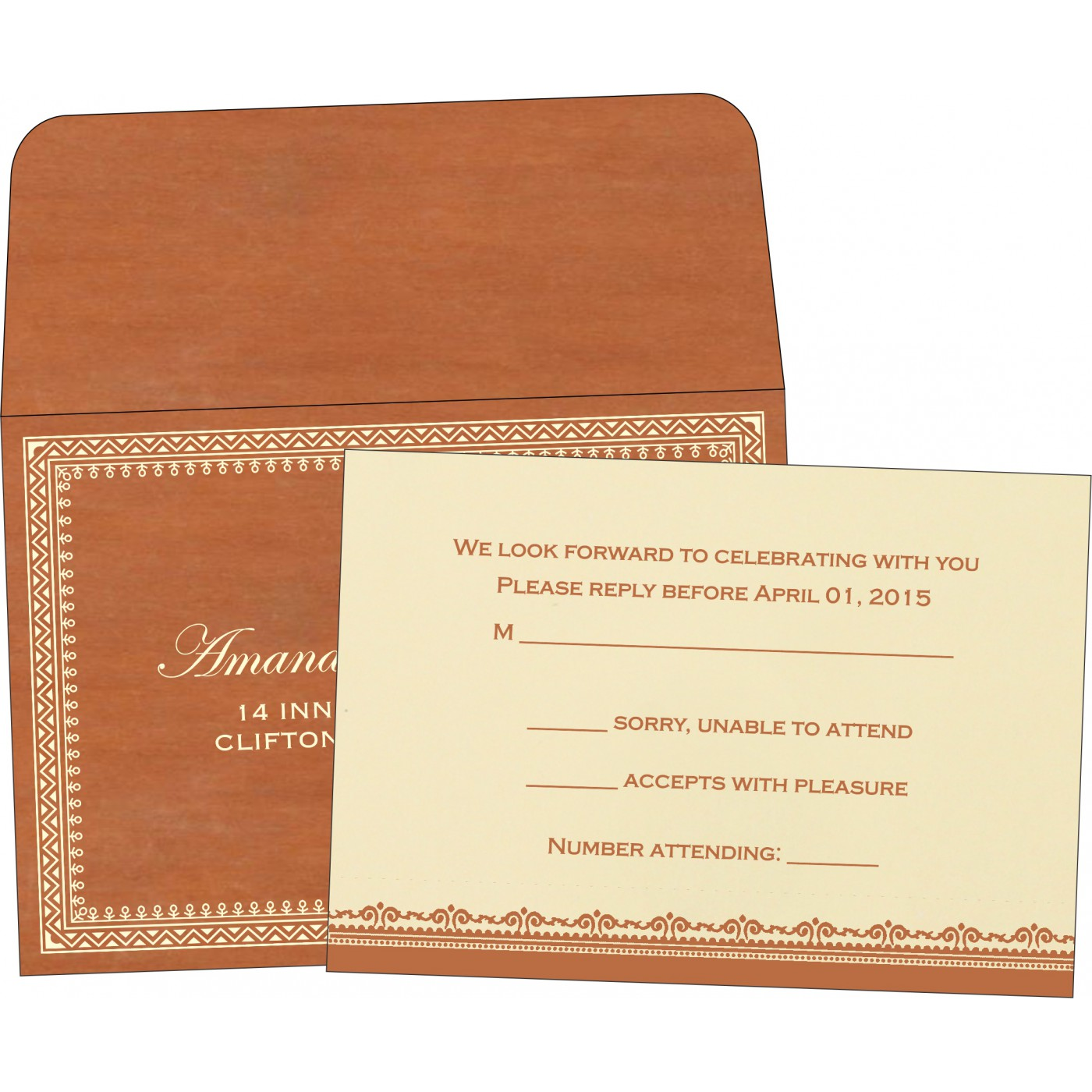 RSVP Cards : CRSVP-8205C - IndianWeddingCards