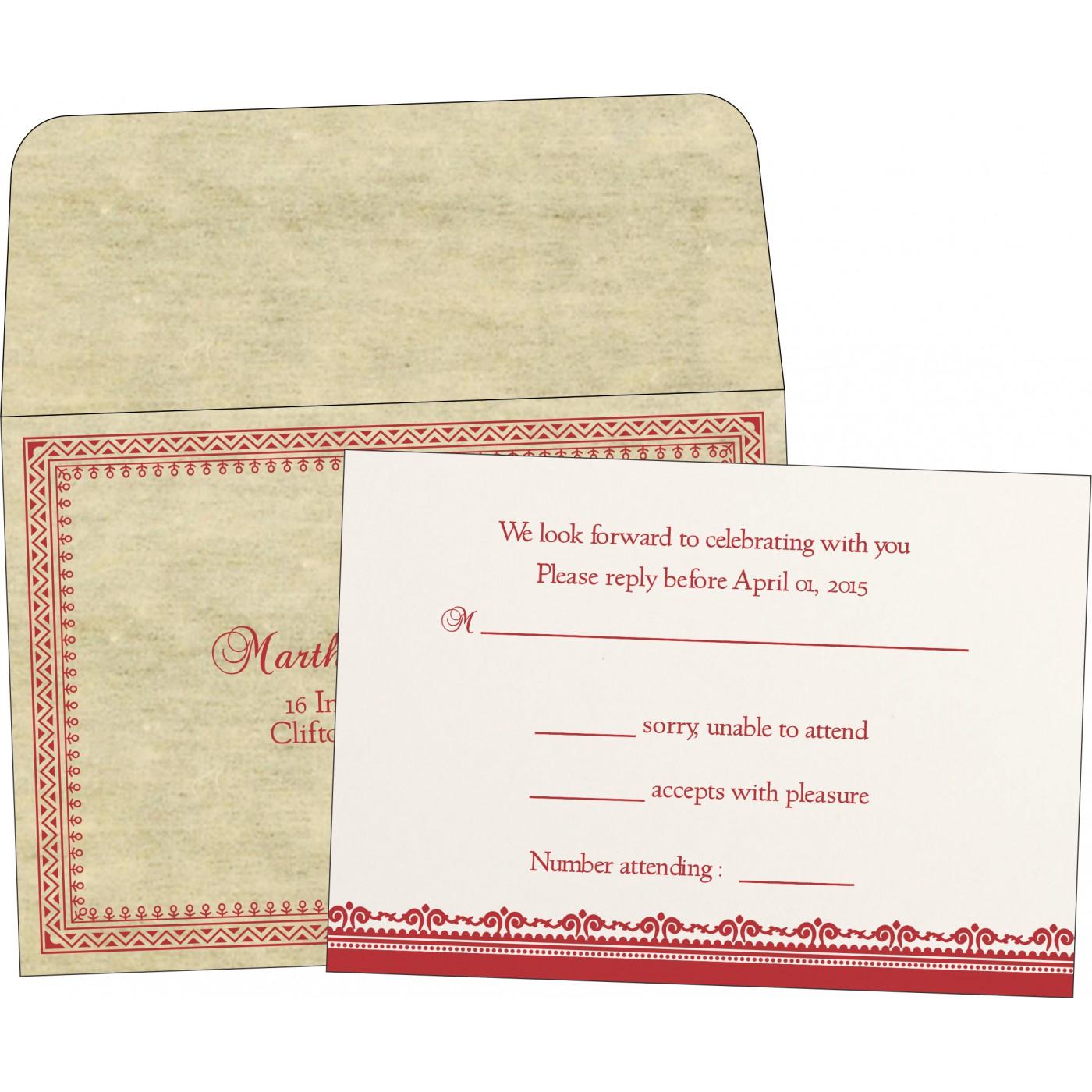 RSVP Cards : CRSVP-8205O - IndianWeddingCards