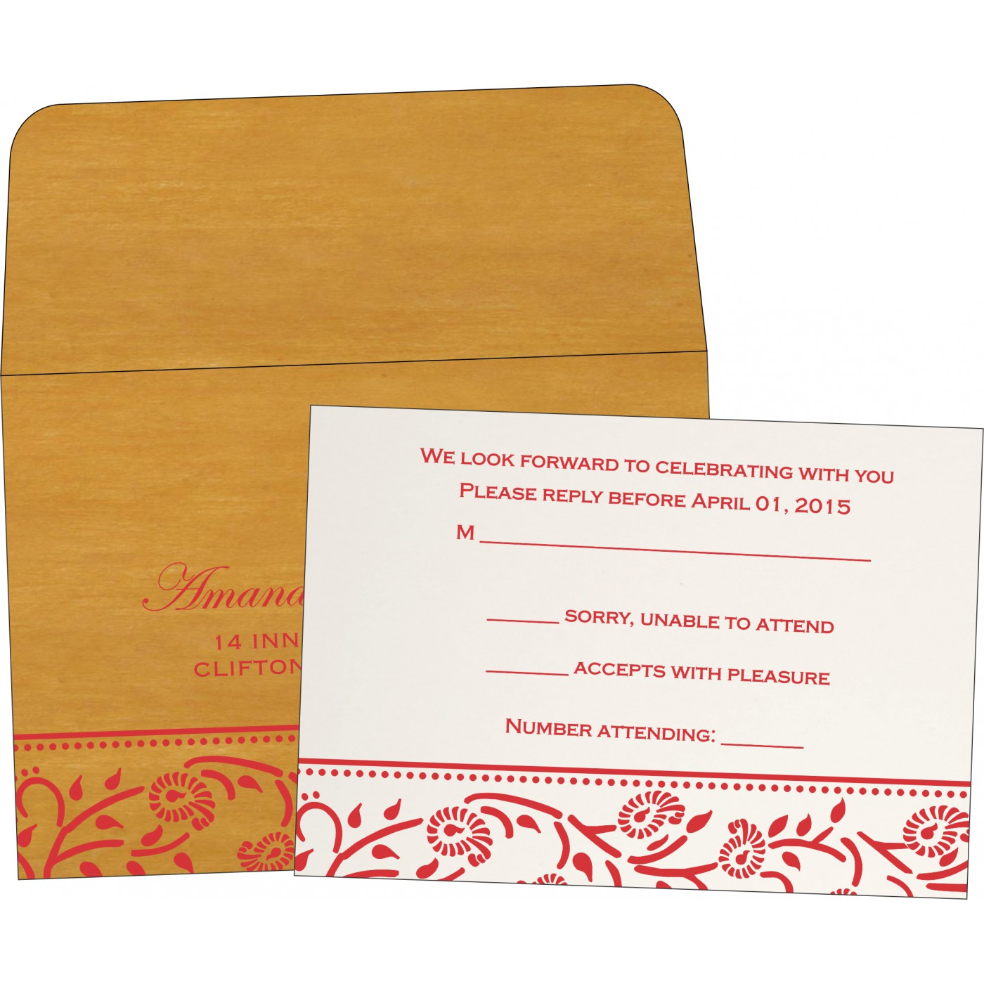 RSVP Cards : CRSVP-8206H - IndianWeddingCards