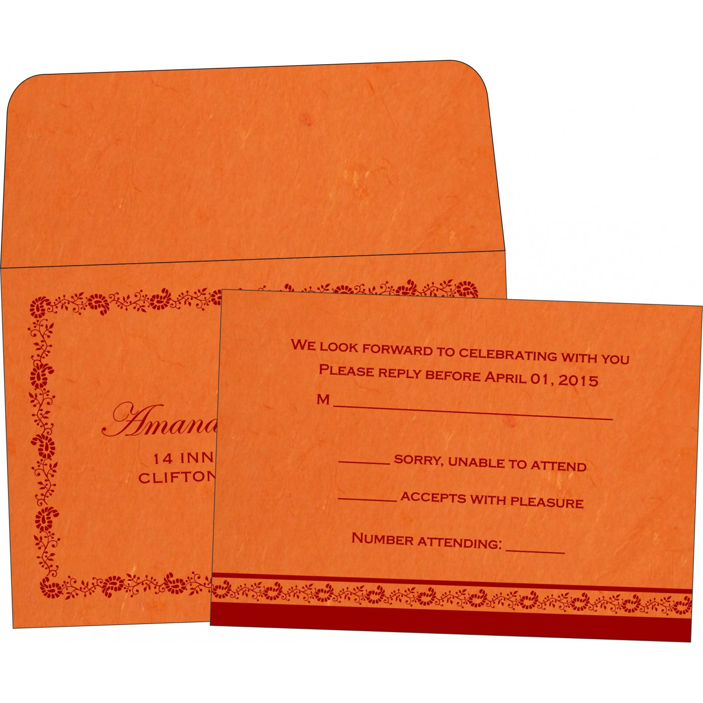 RSVP Cards : CRSVP-8208G - IndianWeddingCards