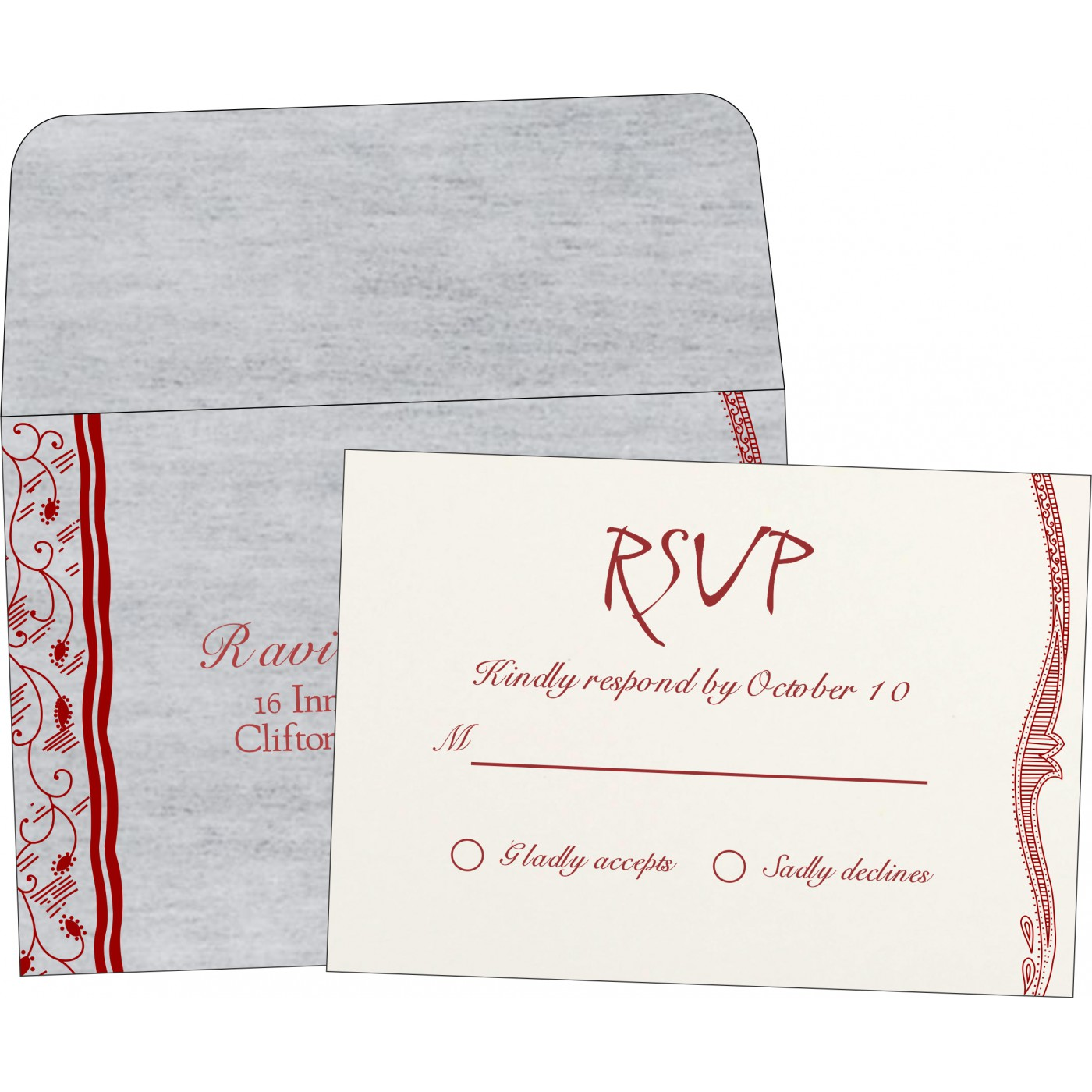 RSVP Cards : CRSVP-8210J - IndianWeddingCards