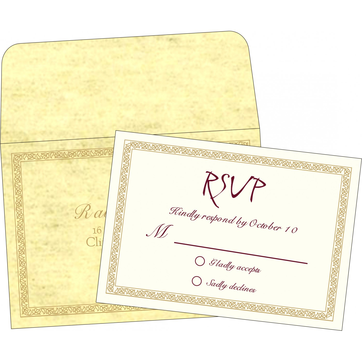RSVP Cards : CRSVP-8211K - IndianWeddingCards
