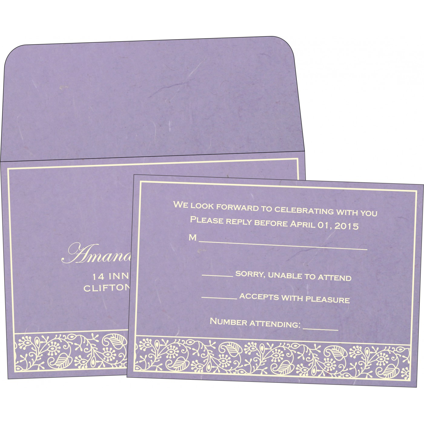 RSVP Cards : CRSVP-8215B - IndianWeddingCards