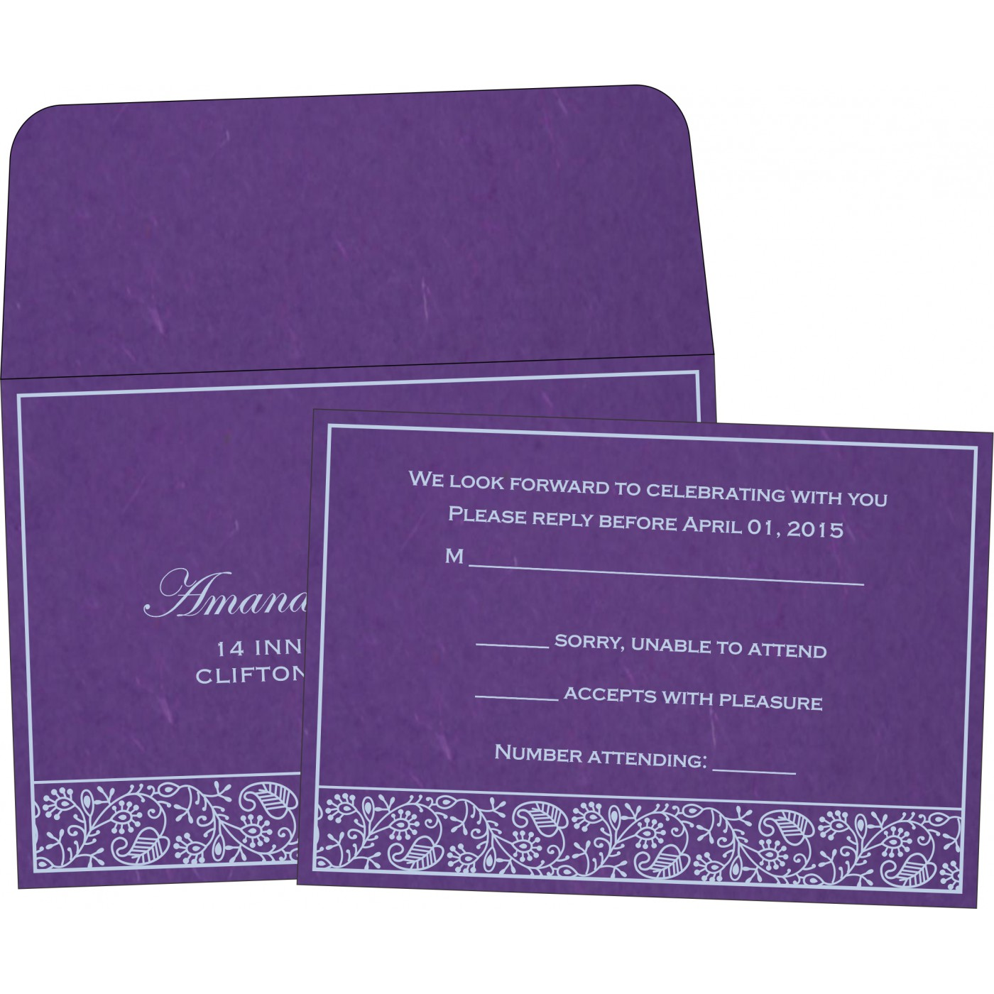 RSVP Cards : CRSVP-8215G - IndianWeddingCards