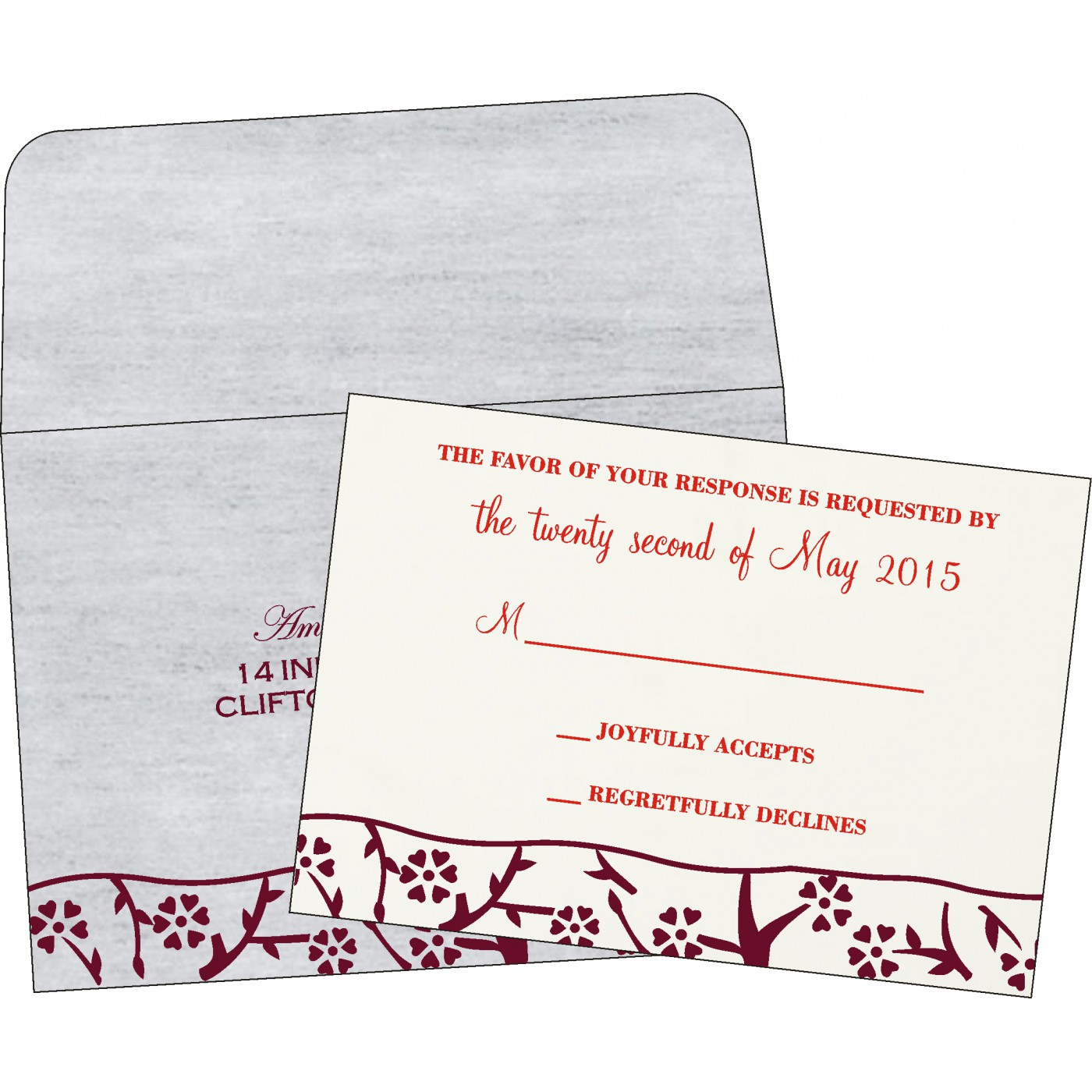 RSVP Cards : CRSVP-8216B - IndianWeddingCards