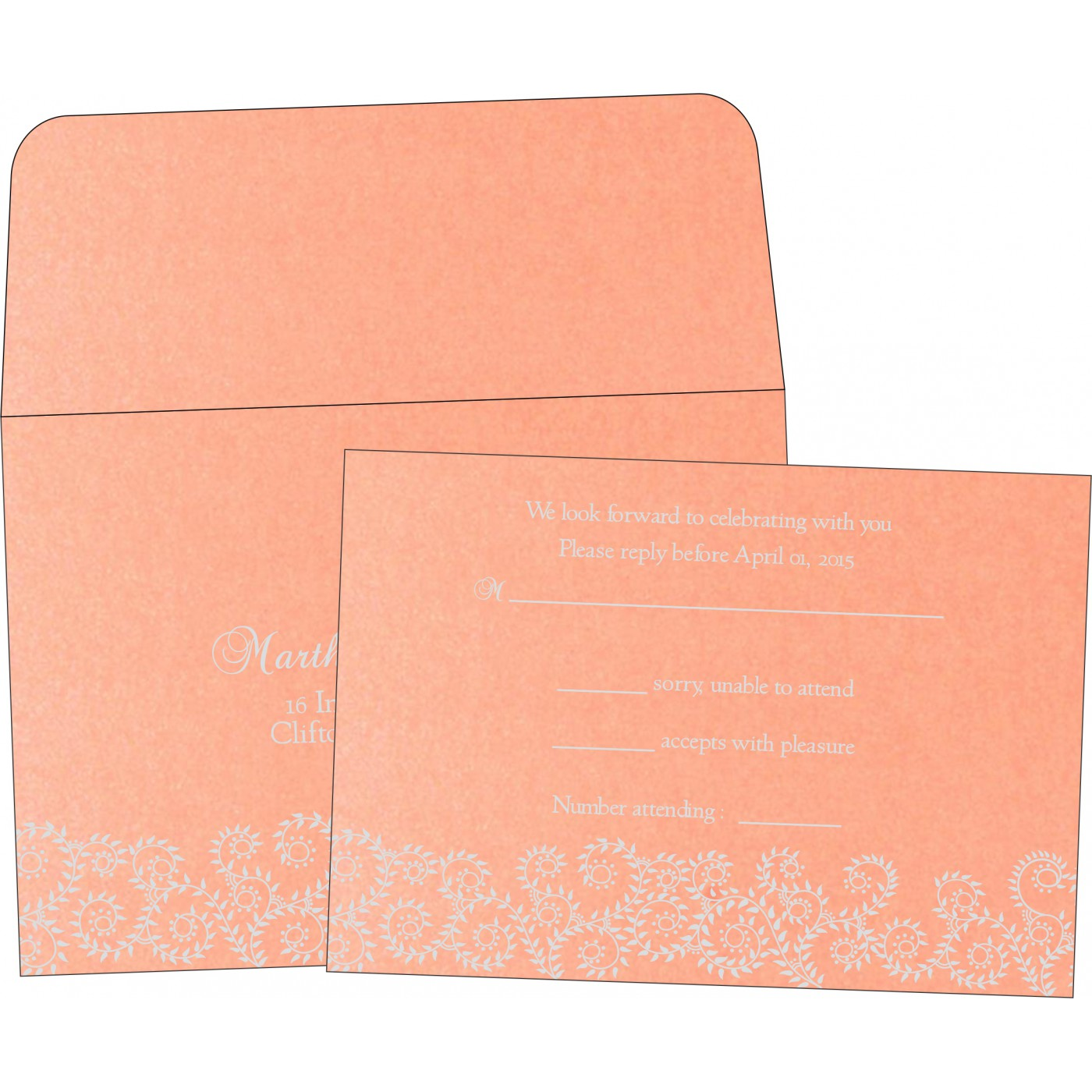 RSVP Cards : CRSVP-8217E - IndianWeddingCards