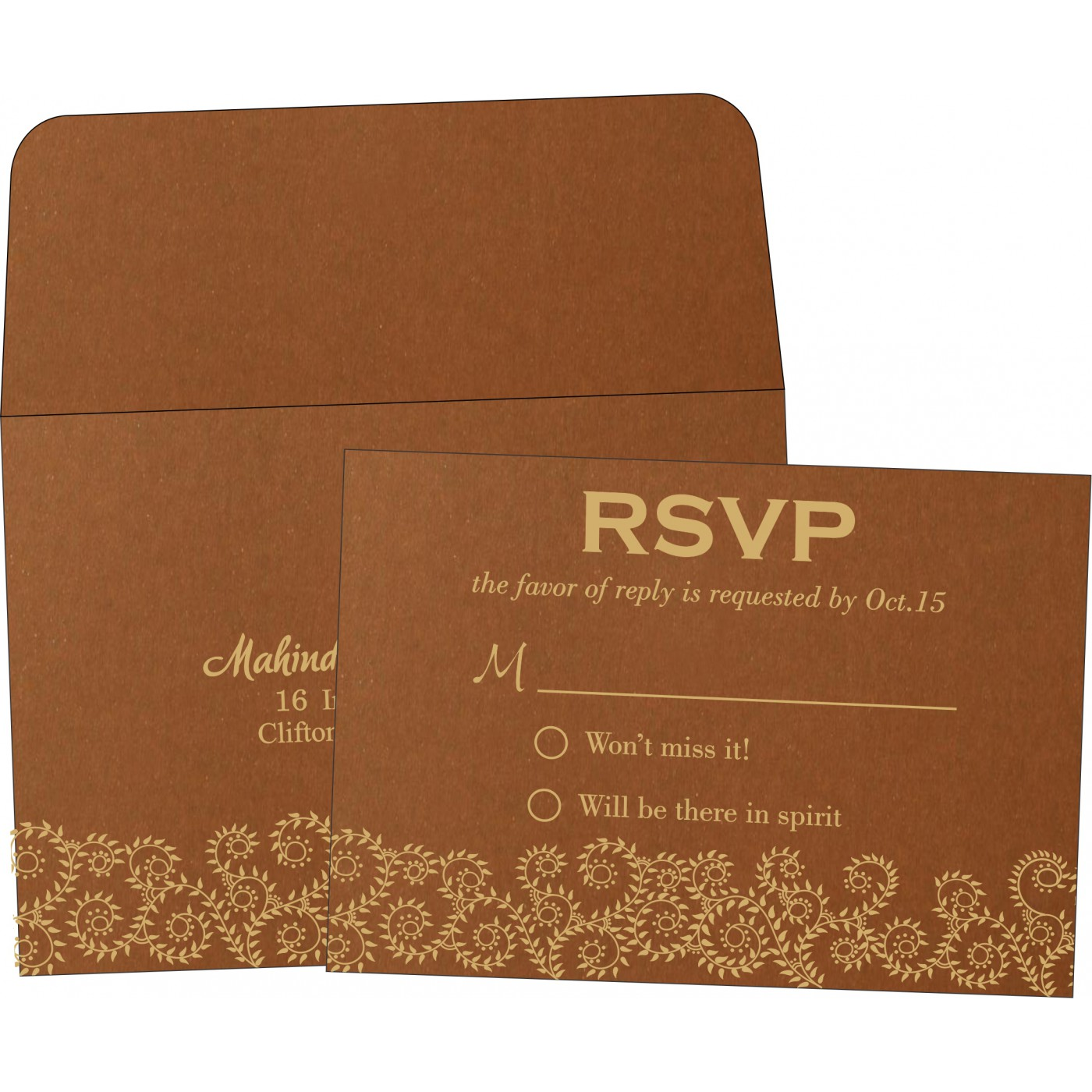 RSVP Cards : CRSVP-8217I - IndianWeddingCards