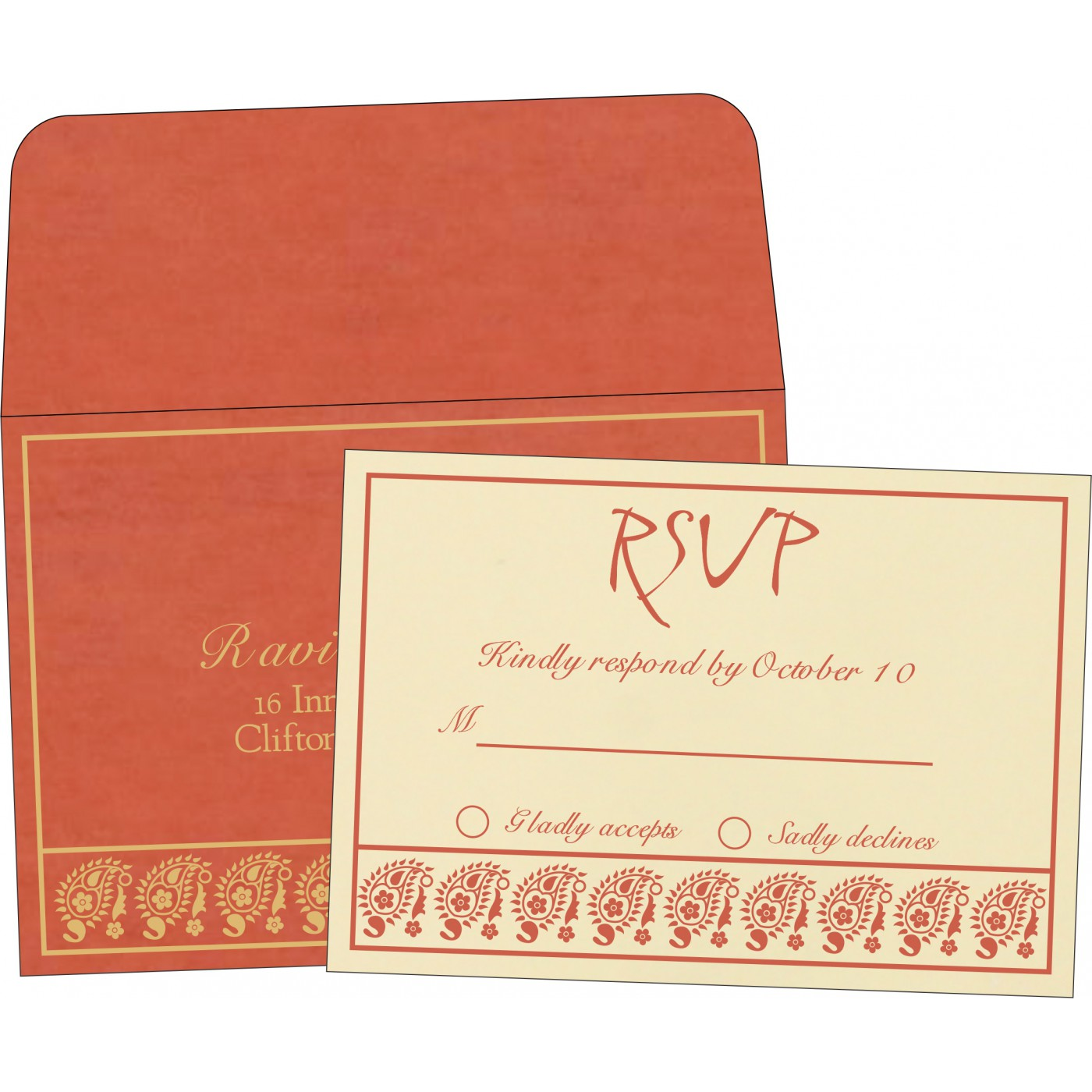 RSVP Cards : CRSVP-8218E - IndianWeddingCards