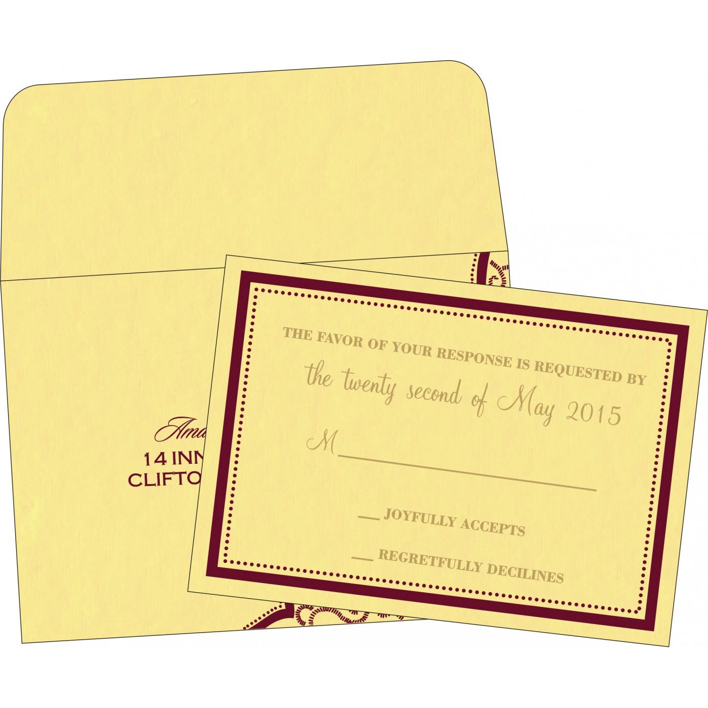 RSVP Cards : CRSVP-8219G - IndianWeddingCards