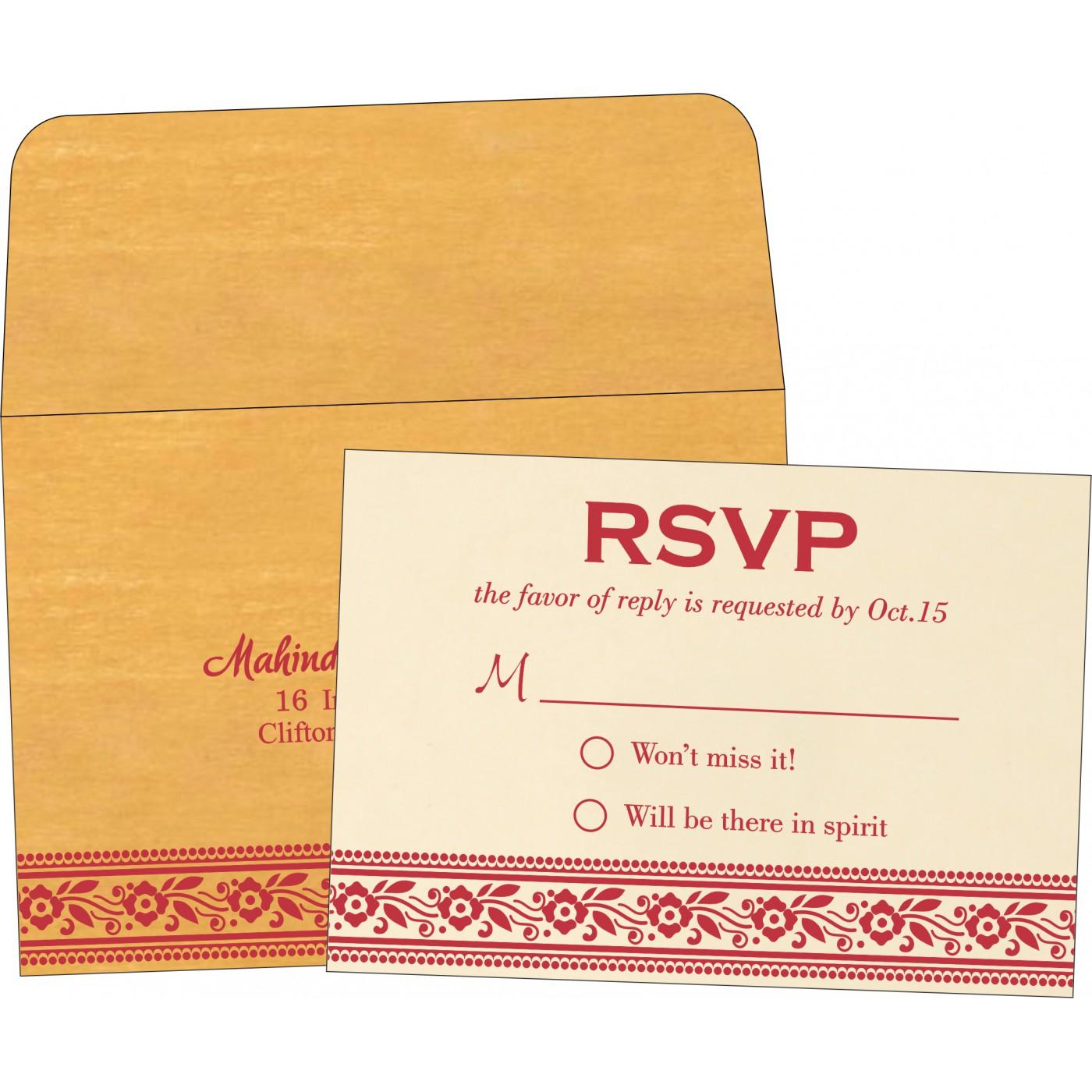 RSVP Cards : CRSVP-8220O - IndianWeddingCards